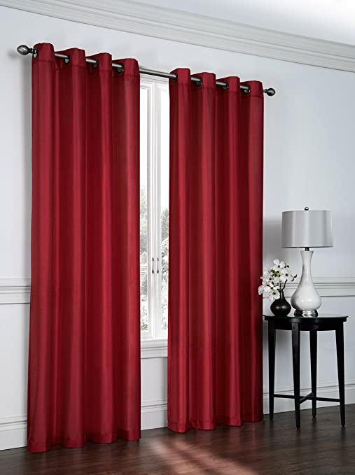 Amazon Com Ruthy S Textile 2 Piece Faux Silk Grommet Curtain Panels 54 By 84 Inch Total Width 108 X 84 Home Kitchen