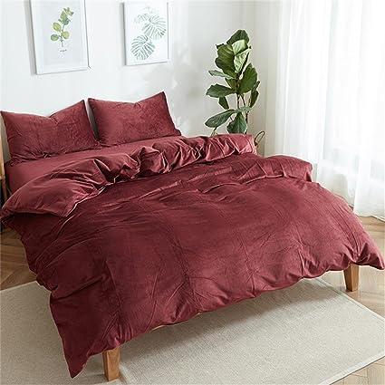 EnjoyBridal Luxury Solid Color Velvet Bedding Duvet Cover Sets King Size,  Queen Size, Winter