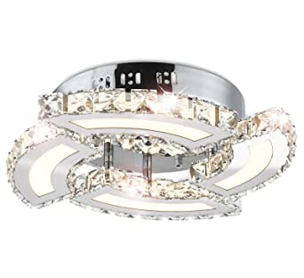 LED Exclusive Kristall Deckenleuchte Wohnzimmer Leuchte Deckenlampe Lster Kronleuchter Rund 40cm 24W Warm Weiss