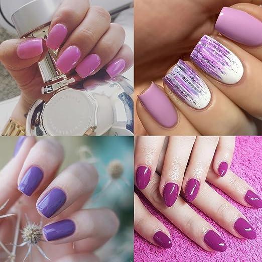 Gel polaco, Soak Off UV LED Nail Art de Uñas Esmalte de Uñas Polaco duradero brillante 7 ml rosáceo Purple Serie: Amazon.es: Belleza
