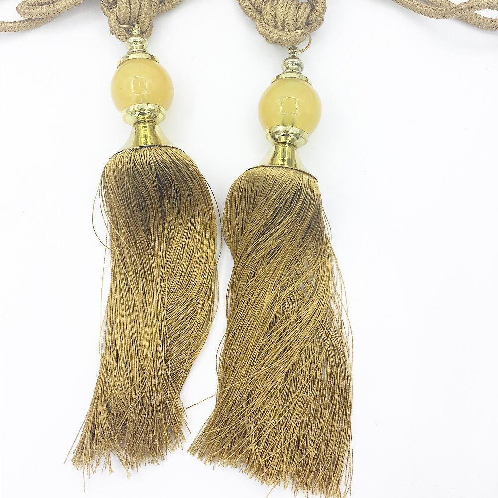 HBEDU Curtain Tiebacks Tassel Beaded Rope Drapes Holdbacks Home Office Window Decoration Holders 1 Pair Gold