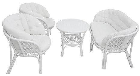 Sedie In Vimini Bianche.Sf Savino Filippo Set Completo Salotto In Vimini Bambu E Rattan Luna Bahama Bianco Divano Poltrone Tavolo