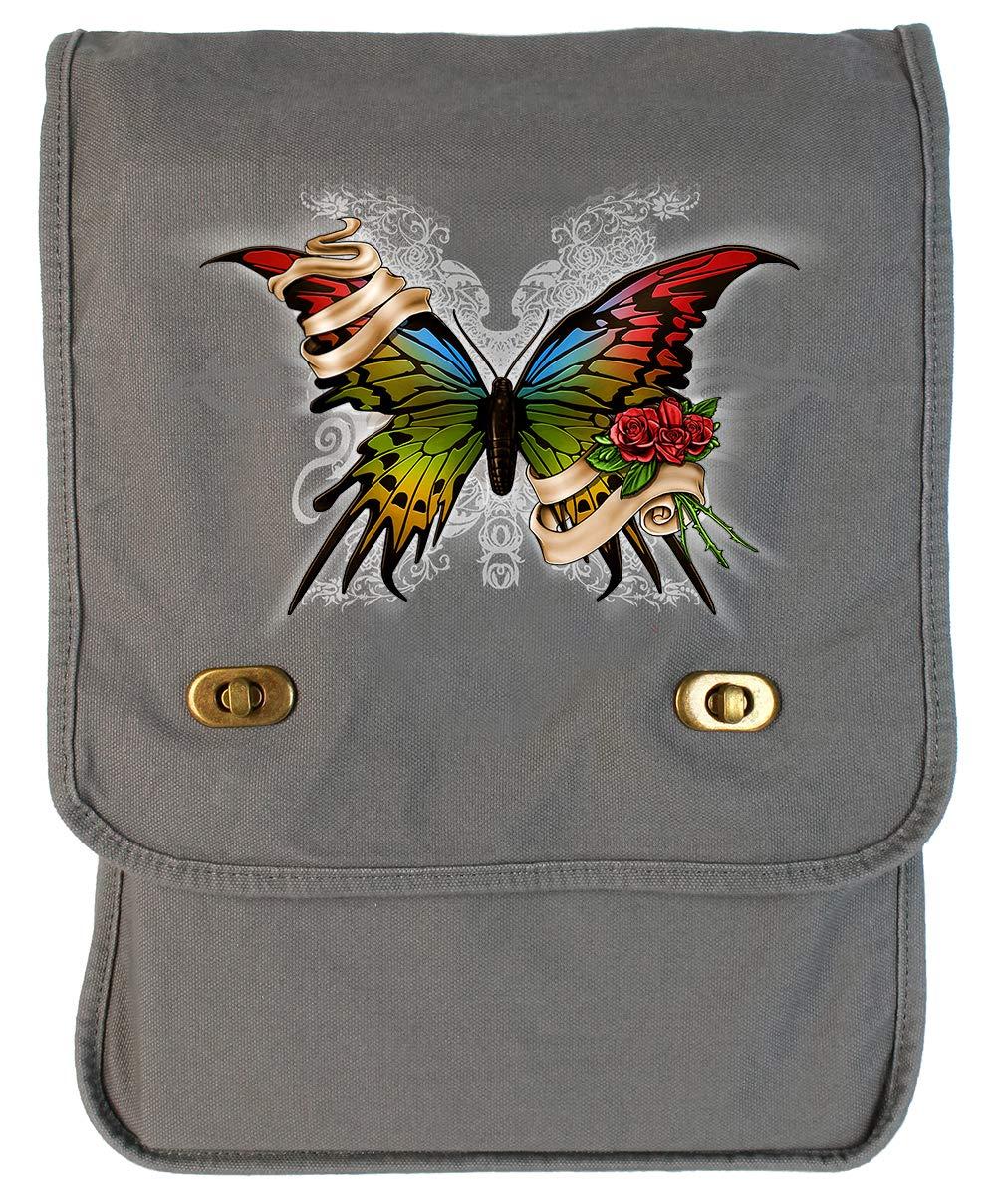 Tenacitee Butterfly Flamingo Raw Edge Canvas Messenger Bag