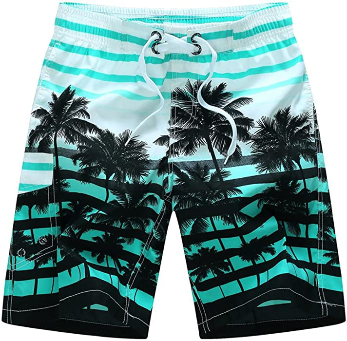f5aa3678b2c7b Amoystyle Men s Palm Tree Printed Stripe Swim Trunks Blue Asian M ...
