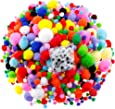 Caydo 1400 Pieces 5 Sizes Multicolor Pom Poms Assorted Pompoms with 4 Sizes Wiggle Eyes for DIY, Crafts and Decorations