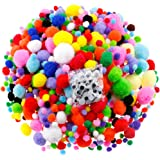 Caydo 1400 Pieces 5 Sizes Multicolor Pom Poms Assorted Pompoms with 4 Sizes Wiggle Googly Eyes for DIY, Crafts and Decorations