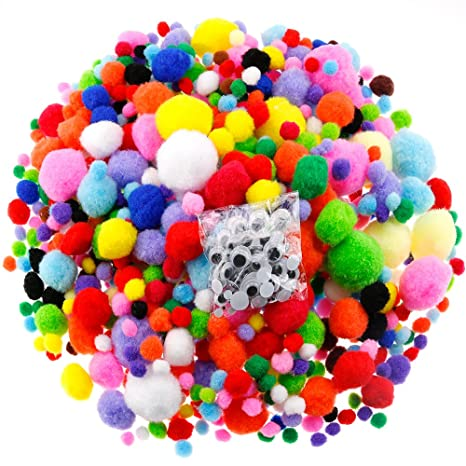 Caydo 1400 Pieces 5 Sizes Multicolor Pom Poms Assorted Pompoms with 4 Sizes  Wiggle Googlys Eyes for DIY, Crafts and Decorations