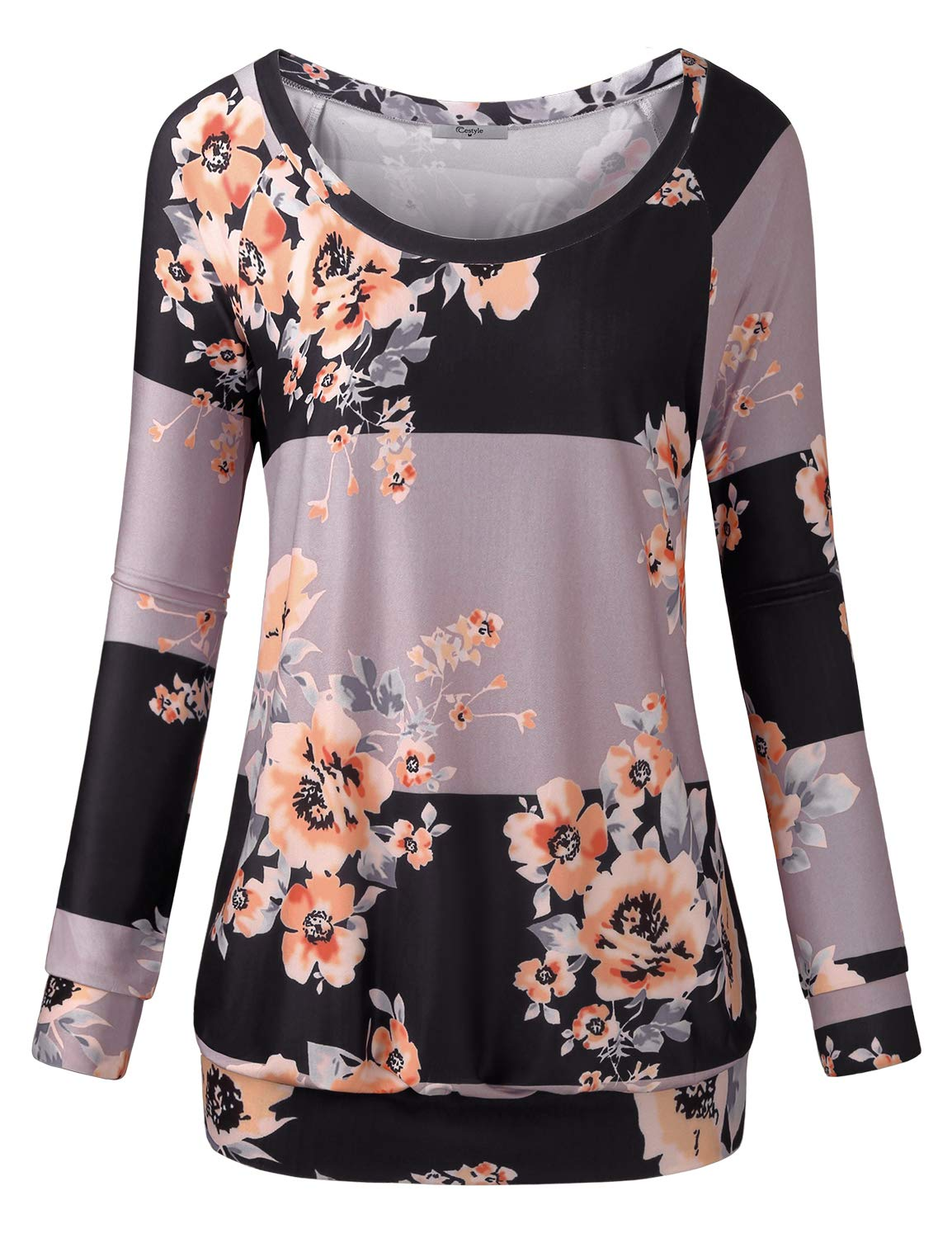 Cestyle Printed Sweatshirt,Womens Full Sleeve Boat Neck Floral Pattern Striped Tunic Sweater for Leggings Juniors Asymmetry Color Block Banded Bottom Sweatshirts Grey X-Large