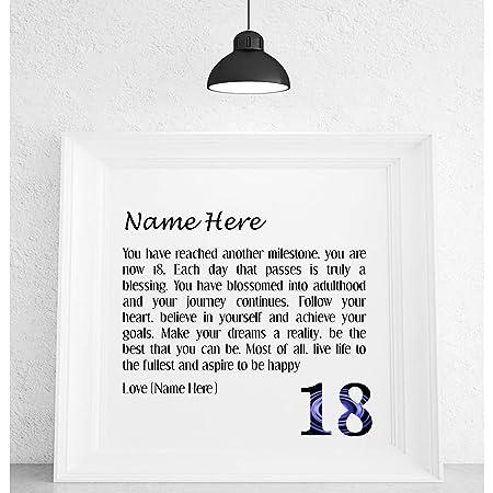 Pure Essence Greetings Personalised 18th Birthday Poem Framed Print