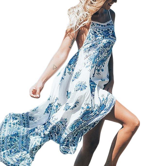 Vestidos Largos Verano Elegantes Casual Flores Estampados Vintage Boho Vestidos Playa Sin Mangas Tirantes Espalda Descubierta