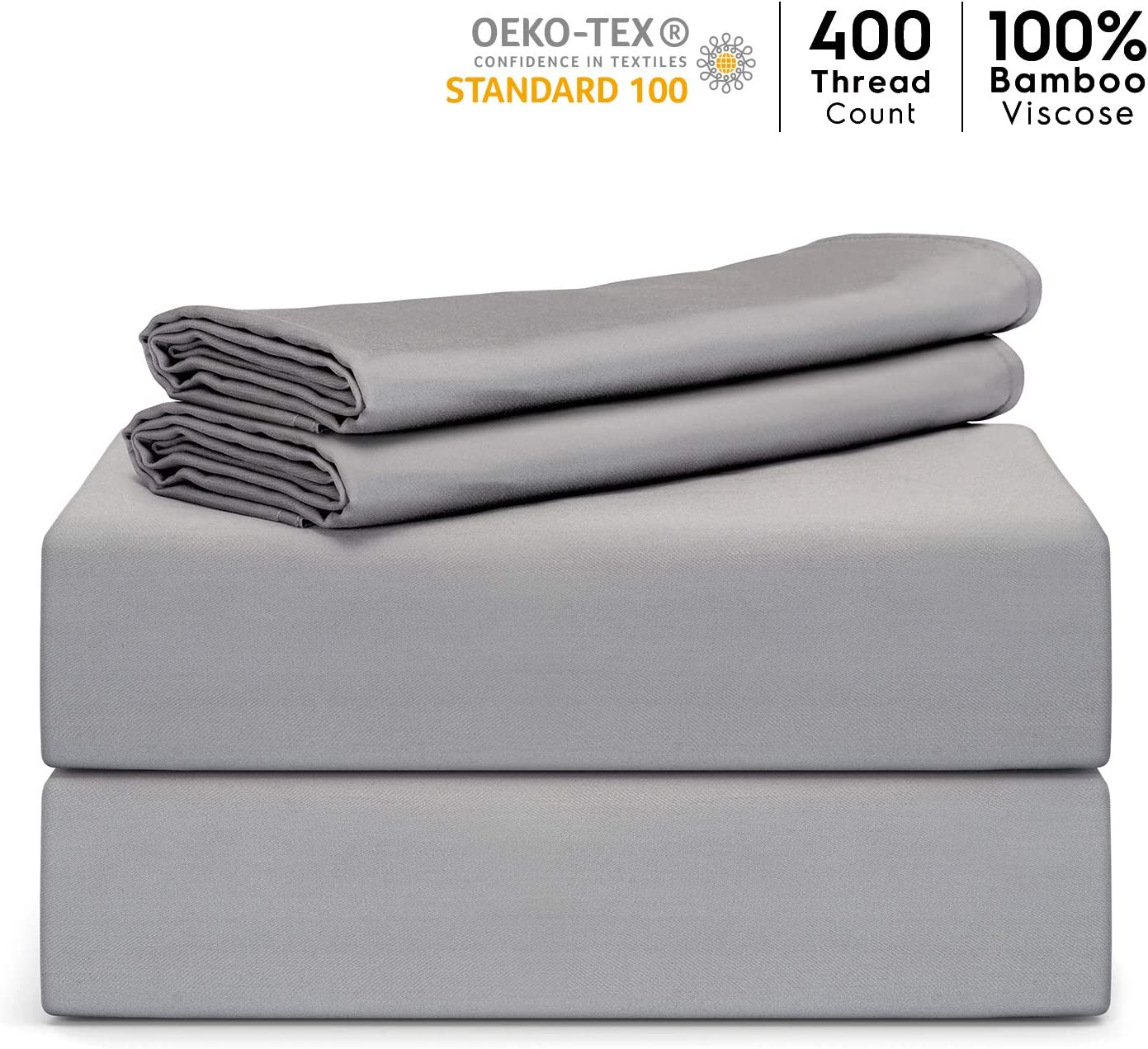 """Tafts Bamboo Sheets Queen Size - 100% Pure Organic Viscose Bamboo Sheet Set - 400TC Bamboo Bed Sheets - 4 Pieces - 17"""" Deep Pocket - Silk Feel, Cooling, Anti-Static, Hypoallergenic (Space Grey)"""