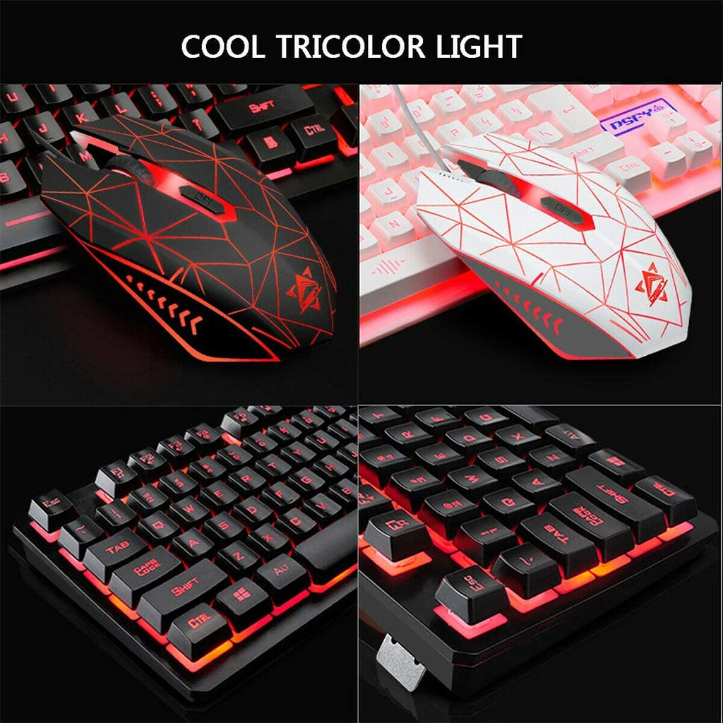 Y-QUARTER 4Pcs//Set Keyboard with Wired USB Illuminated Gaming Mouse Pad,Backlight Headset for Gaming Lovers Gifts