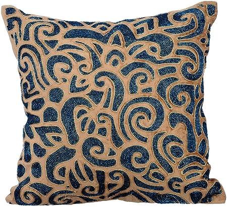 Oro funda cojin, 30x30 cm fundas para almohadas, terciopelo de algodón fundas para almohadas, los granos metálicos los granos brillantes Resumen del tema fundas de cojin - Gold & Sapphires: Amazon.es: Hogar