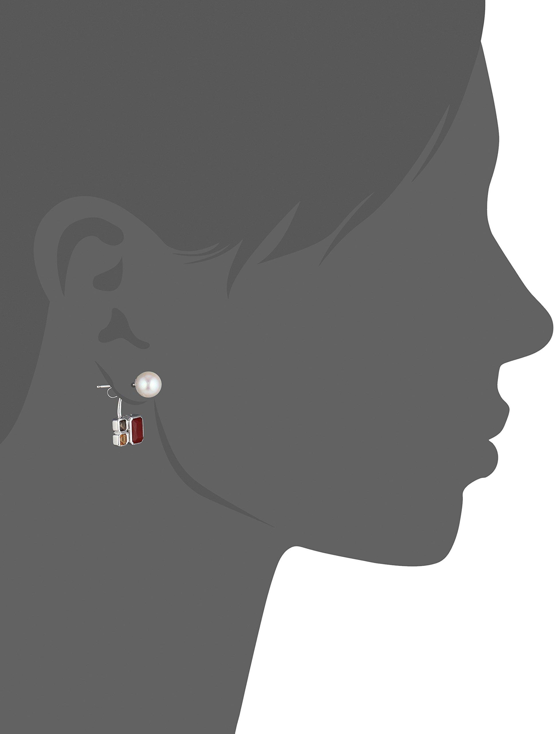 TARA Pearls 7X7.5mm Akoya Pearls, Smoky Quartz, Citrine and Red Agate Jacket Sterling Silver Earring Jackets by TARA Pearls (Image #2)