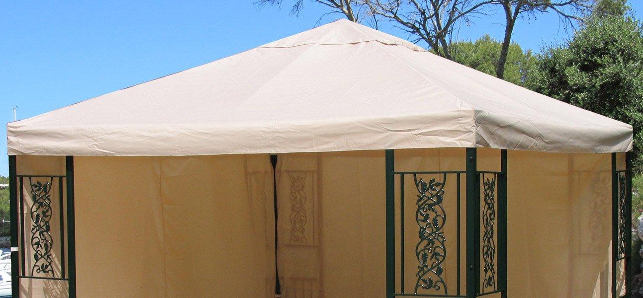 Grasekamp Ersatzdach Roma Garten-Pavillon 3x3m Ersatz-Plane Bezug Beige