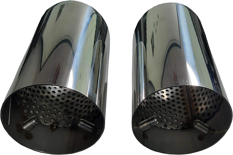 2 embouts d/échappement Cartuner en acier inoxydable 76 mm