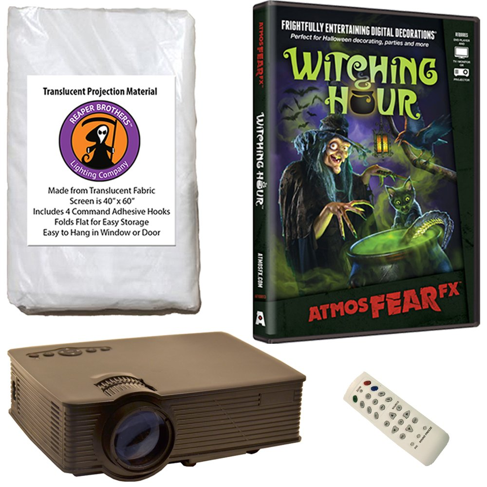 AtmosFearFx Witching Hour Halloween DVD Projector Kit with 1900 Lumen LED Video Projector, Reaper Brothers High Resolution Window Rear Projection Screen and AtmosFearFX Witching Hour DVD