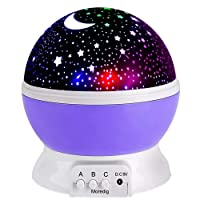 Moredig Night Lights for Children Rotation Night Projection Lamp for Kids Children Bedroom Bed Christmas Purple