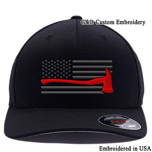 Thin Red Line Axe USA Flag. Embroidered. 6477 Flexfit Wool Blend Cap (S f47741c1a4f