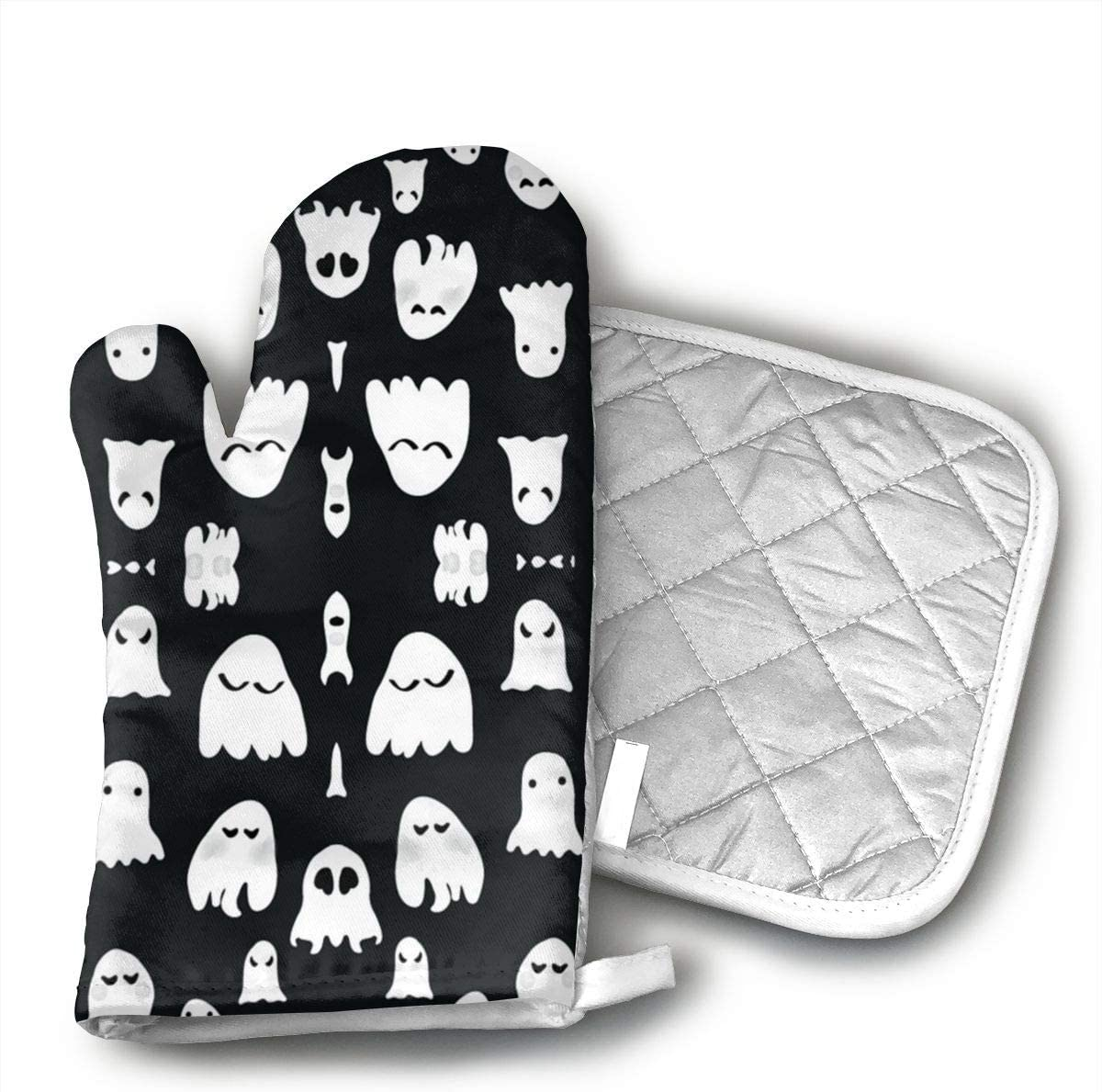Wiqo9 Ghosts Oven Mitts and Pot Holders Kitchen Mitten Cooking Gloves,Cooking, Baking, BBQ.