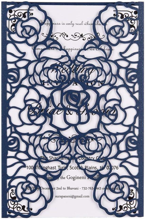 HUDETIE Kit De Tarjeta De Invitación De Corte Láser De40 PaquetesCon Papel Imprimible En Blanco Para Bodas, Fiestas De Cumpleaños, Tarjetas De Anuncio De Baby Shower