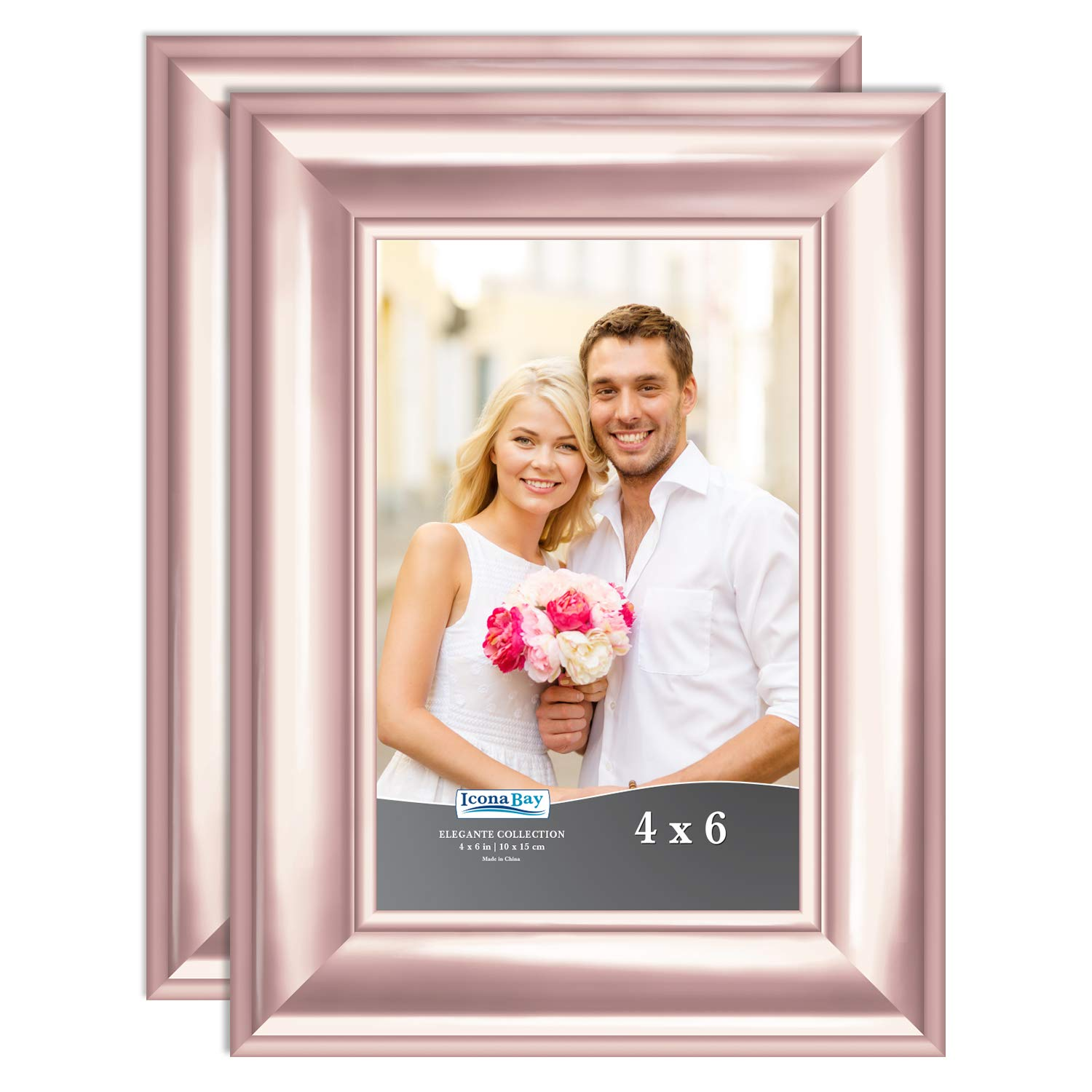 Icona Bay 4x6 Picture Frame (2 Pack, Rose Gold), Rose Gold Photo Frame 4 x 6, Wall Mount or Table Top, Set of 2 Elegante Collection by Icona Bay