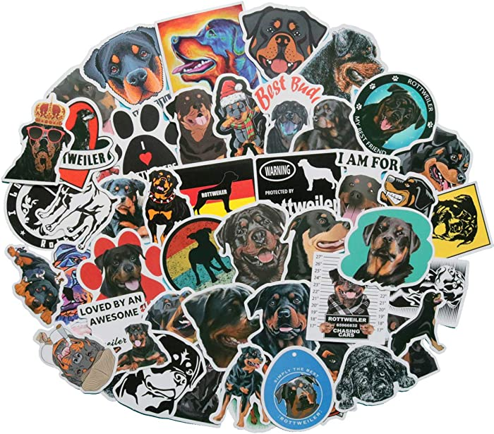 Cute Rottweiler Stickers for Water Bottles, 50 Pack Stickers Trendy Laptop Stickers Guitar Computer Water Bottle Stickers for Teen Children (Rottweiler)