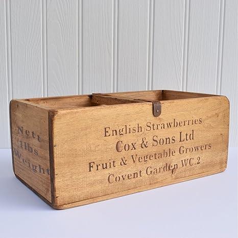 En inglés de fresas Trading tamaño grande de madera de estilo Vintage con orificio en forma
