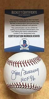 Jim Bunning Signed Baseball - Tigers Hof 96 M l Beckett H31991 - Beckett Authentication - Autographed Baseballs