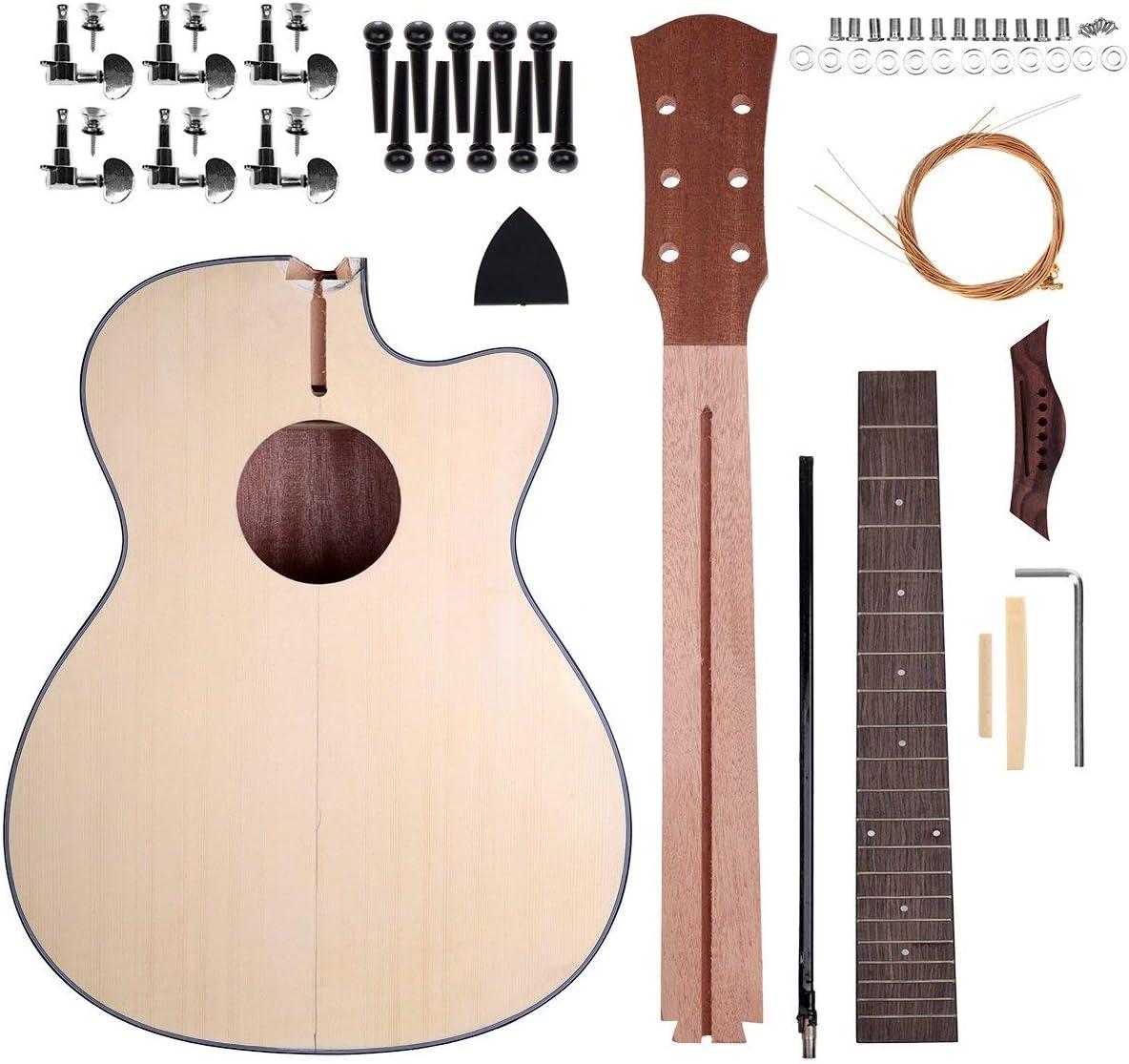 Juego de guitarra acústica DIY Kit de guitarra de madera con cuerda de acero 40 pulgadas