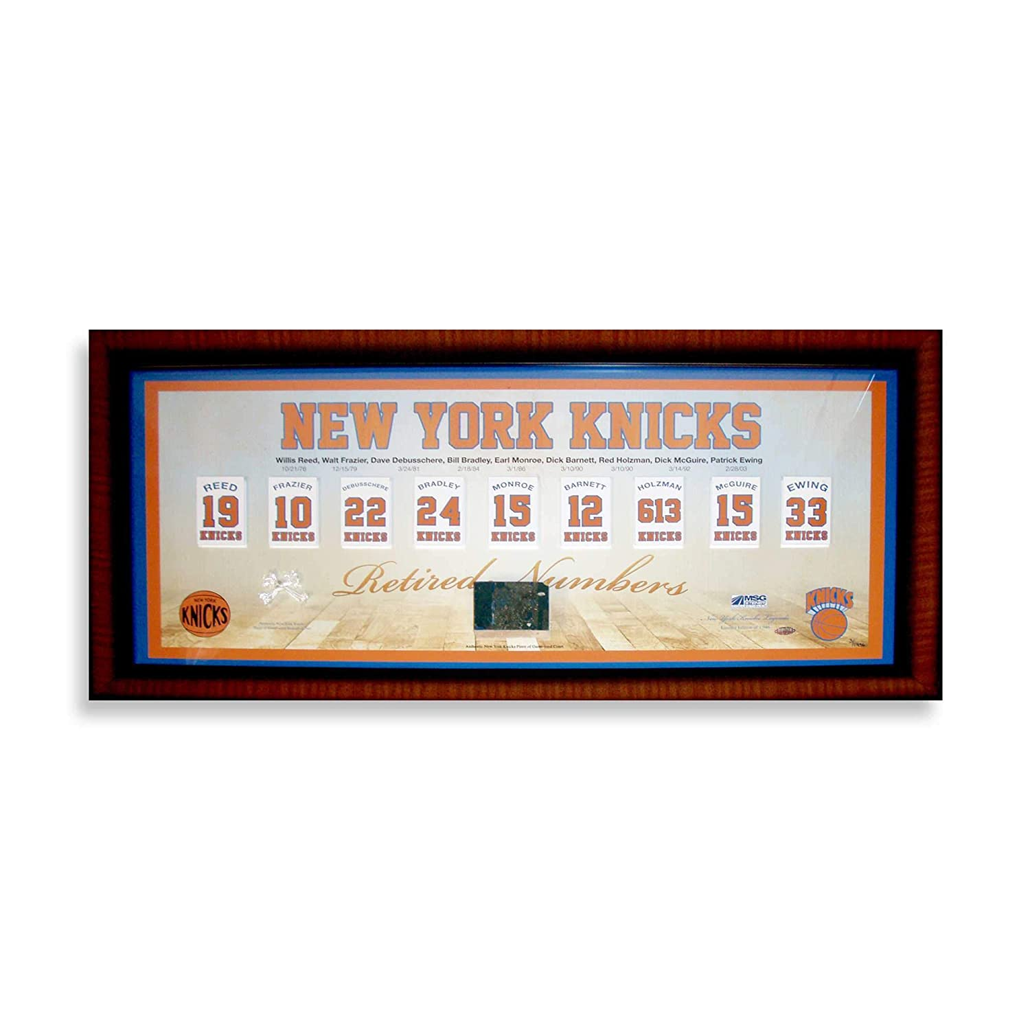 size 40 9c06f d88e2 knicks Retired Numbers Framed Pano 14x32 Collage w/Game Used ...