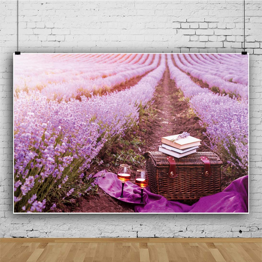AOFOTO 10x8ft Outdoor Tourism Backdrop for Purple Lavender Flowers Bamboo Box Books Background Couple Lovers Taking Photos Family Play Backdrops for Photoshoot Photo Booth Backdrop Wallpaper Vinyl