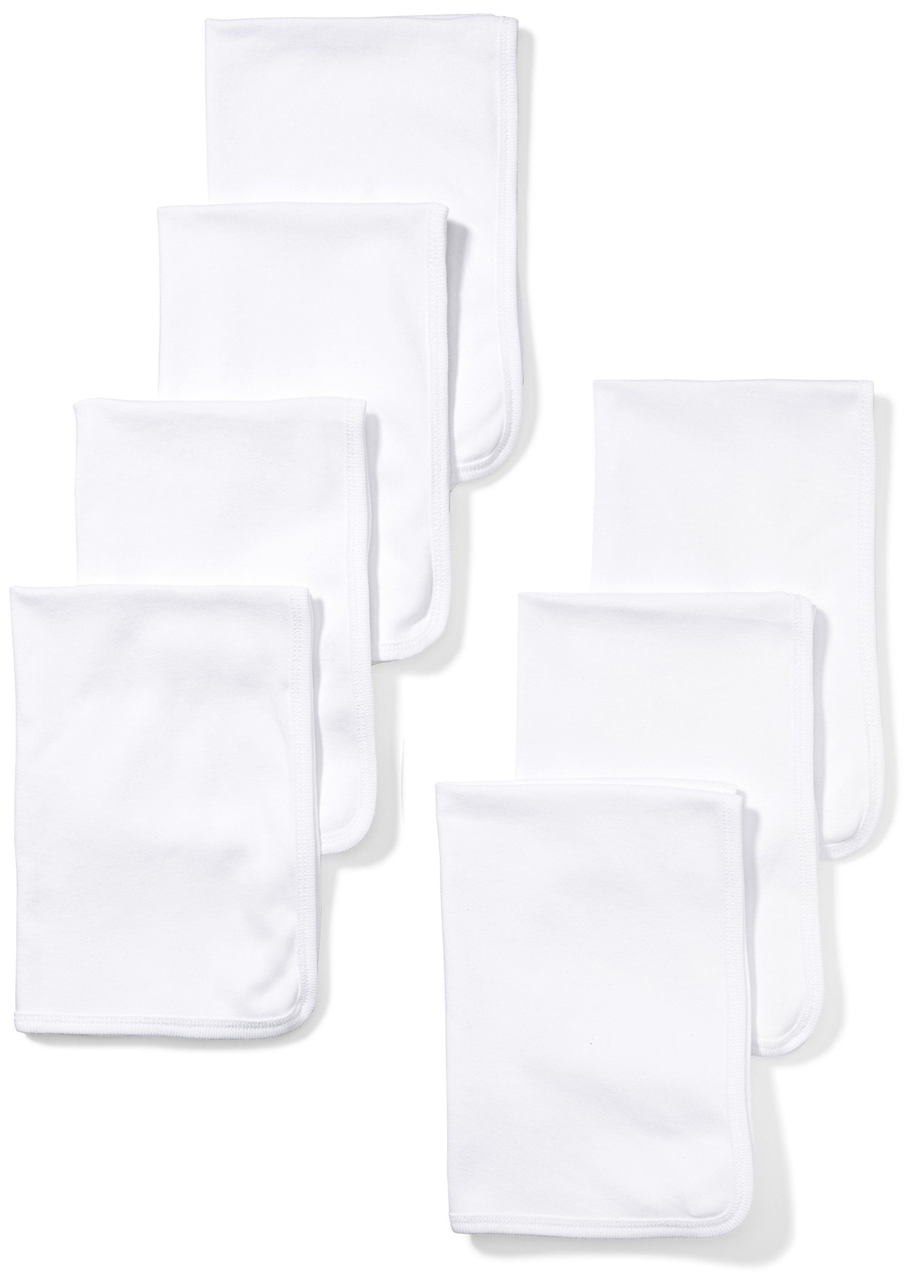 Moon and Back Baby Set of 7 Organic Burp Cloths, White Cloud, One Size by Moon and Back