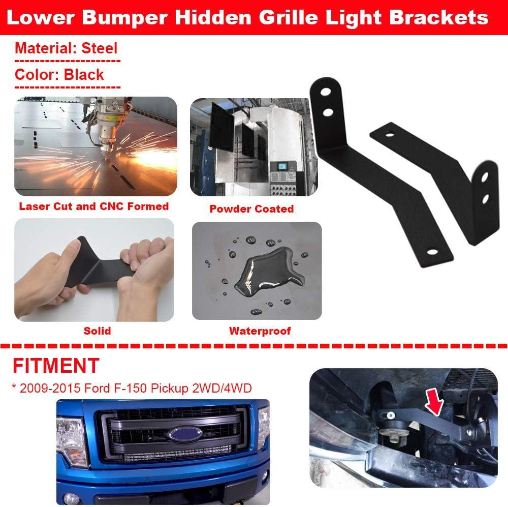 XJMOTO Front Hidden Grille 32 inch LED Light Bar Mount Brackets Fits 2009-2014 Ford F-150 Pickup 4//2WD