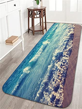 Amazoncom Ocean Beach Waves Bath Mats and Rugs Flannel Fabric