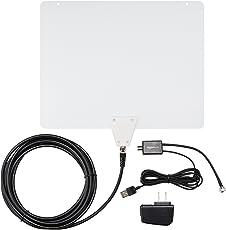 Amazon Basics Antena HDTV para Interiores, Ultra Delgada, Rango de 80.46 km (50 Millas)