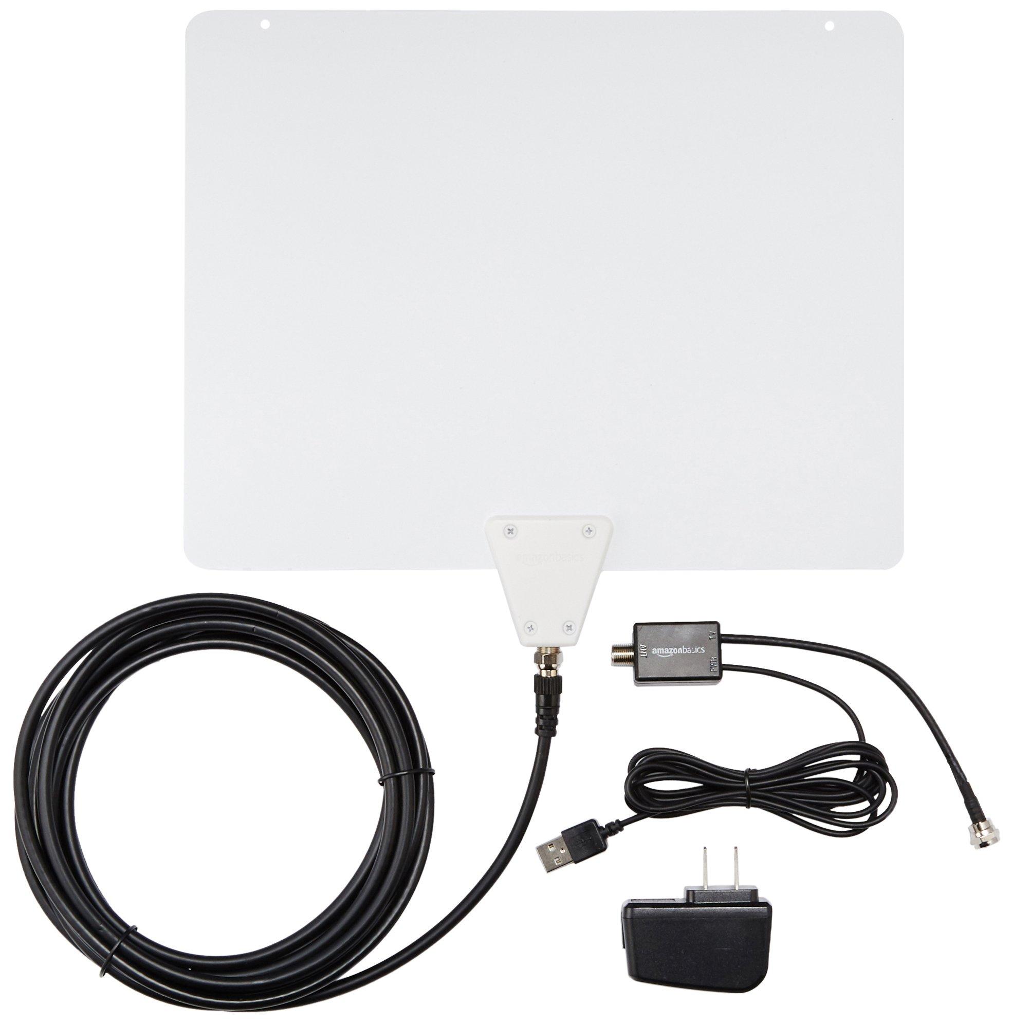 AmazonBasics Ultra Thin Indoor TV Antenna - 50 Mile Range