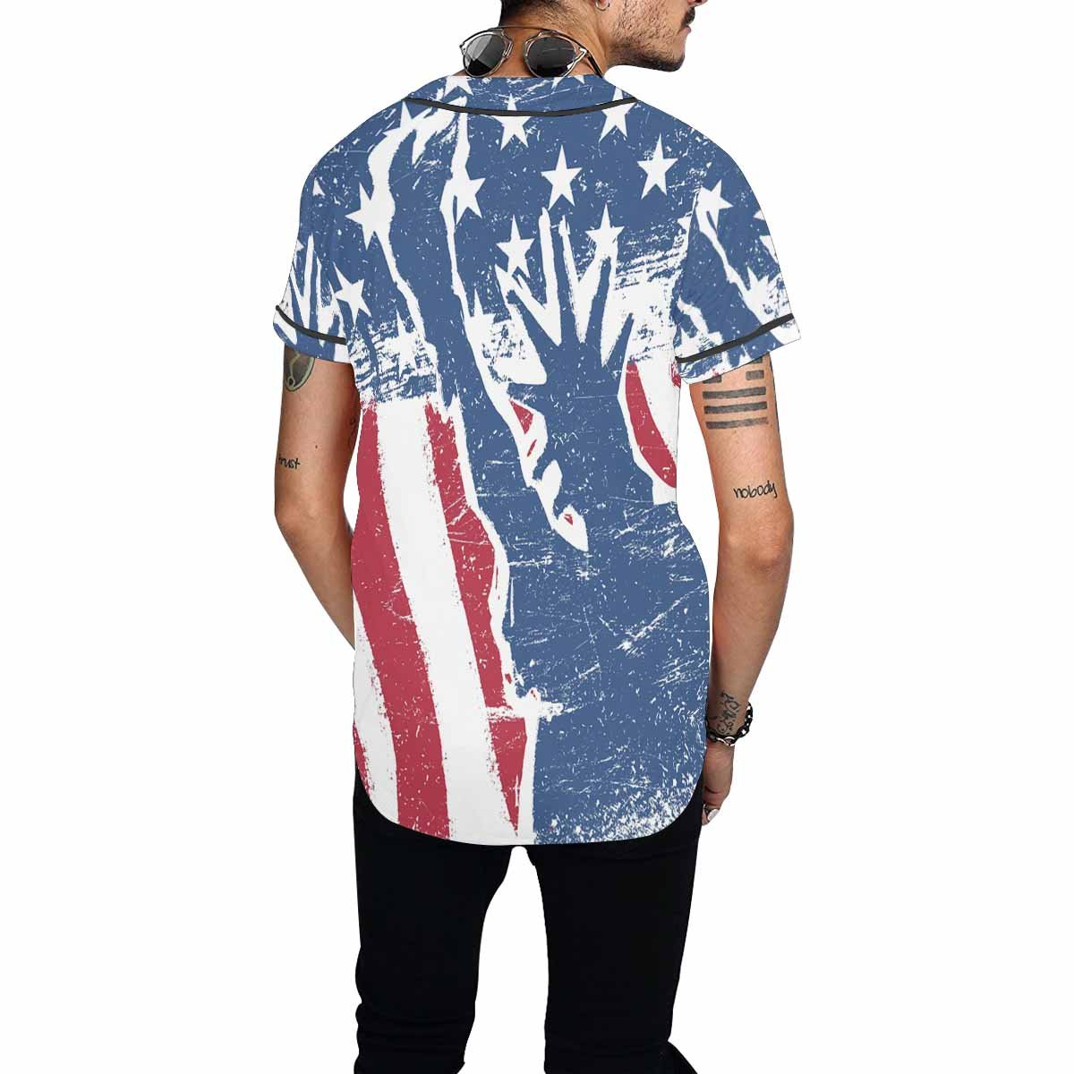 INTERESTPRINT Mens Button Down Baseball Jersey American Flag