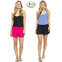 CityComfort Women Shorts Ladies Beach Shorts 2 Pack Beachwear Summer Drawstring Enriched Cotton Blend Short Sizes 8 10 12 14 16 18 20 22