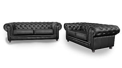 Chesterfield negro 2 + 3 sofás de cuero plisado: Amazon.es ...