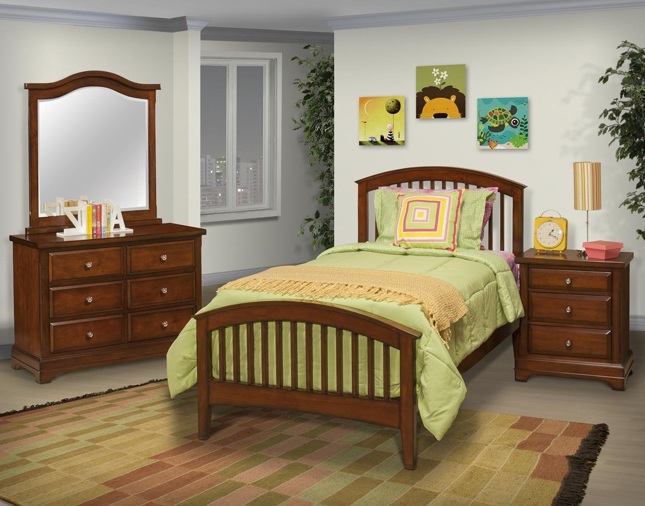 Sandpoint 5 Piece Twin Slat Bedroom Set with 2 Nightstands in Tobacco