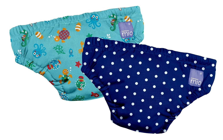 Bambinomio Lot de 2couches de bain réutilisables 2ans et plus Motif Under the Sea et pois Bleu marine Bambino Mio 2SWPXLUSND