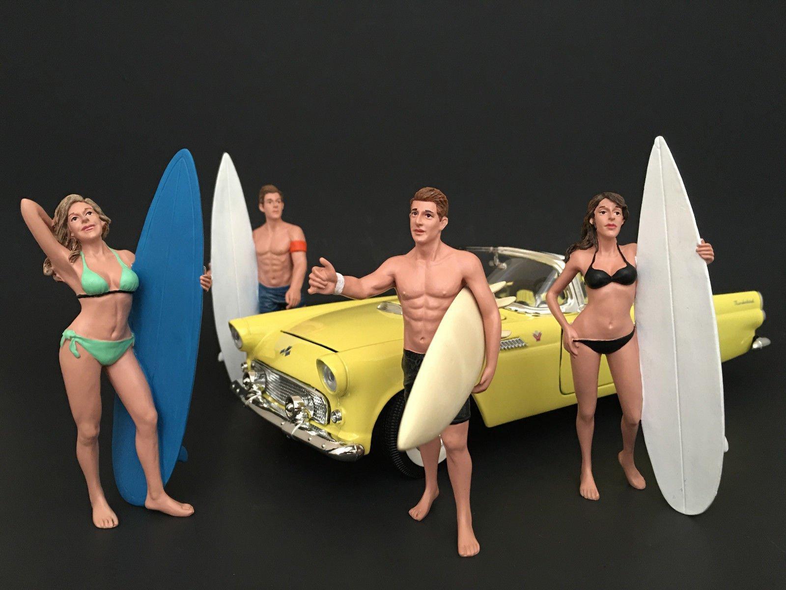 NEW 1:18 AMERICAN DIORAMA FIGURE - SURFER Set Of 4 - Vehicle Figure By American Diorama AD-77439,77440,77441,77442