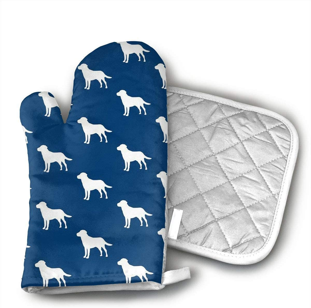 Labrador Silhouettes On Navy Oven Mitts and Pot Holders Set with Polyester Cotton Non-Slip Grip Heat Resistant Oven Gloves for BBQ Cooking Baking Grilling