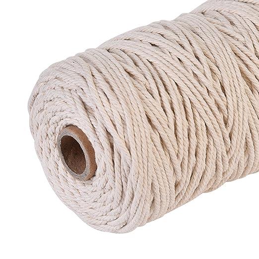 Famtasme 200m hilo de algodón encerado / cordón cuerda de algodón hilo de coser cuerda de abrigo de lana, 3 mm, beige natural: Amazon.es: Jardín