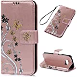 Kasos Flip PU Leather Case for Samsung Galaxy S8, S8 Wallet Case Black Flower White Vine Golden Butterfly Design Flip Case TPU Cover Folio Flip Wallet Case with Wrist Strap Magnetic Clasp Notebook Style Full Protection Skin with Kickstand & Card Slots & Money Clip Fit for Samsung Galaxy S8, Bright Pink