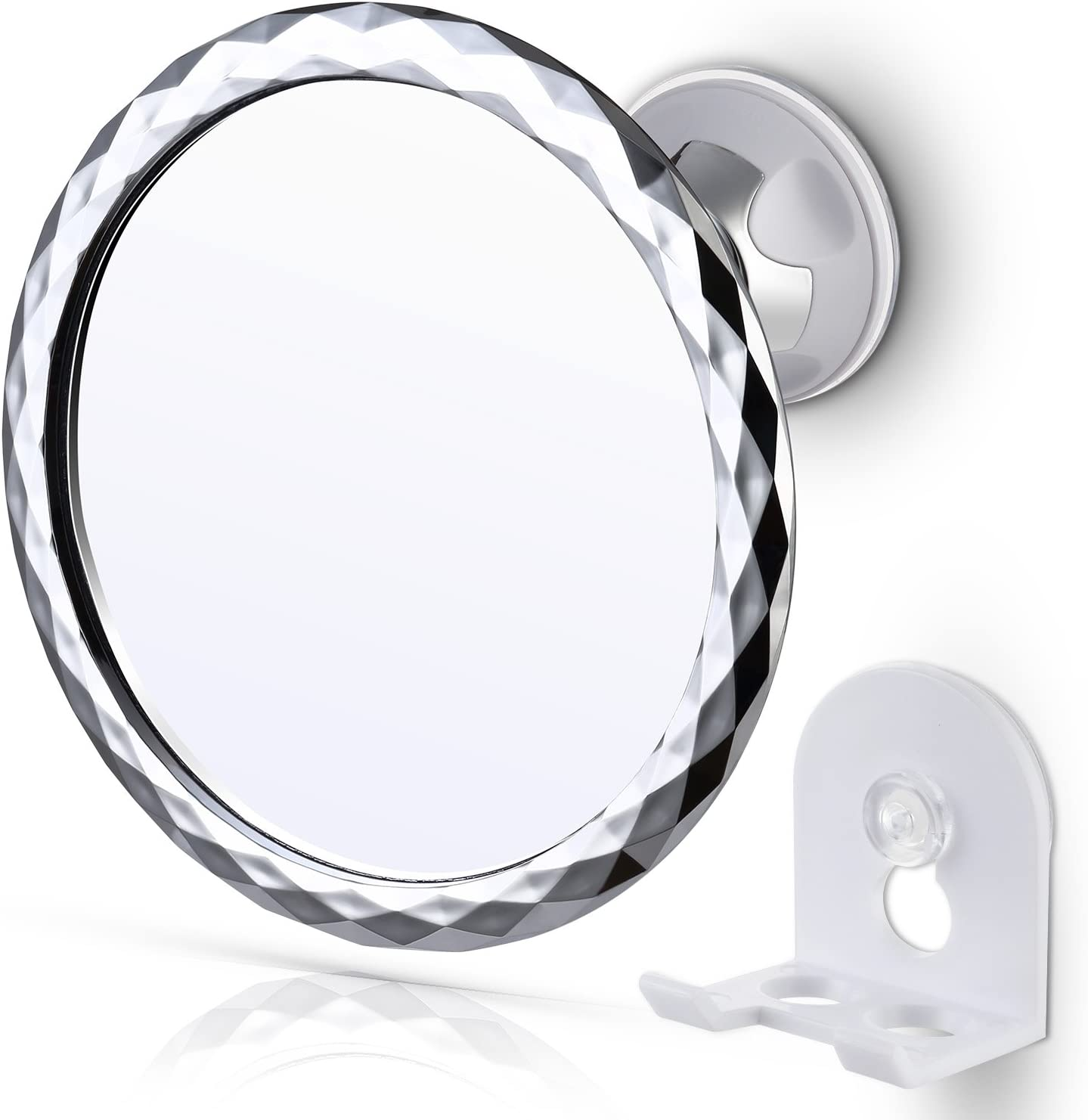 360°Rotate Fog Free Fogless Bathroom Shower Mirror with Suction Cup Razor Holder