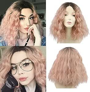 Sansee Peluca de pelo rizado corto y ondulado de color rosa ...