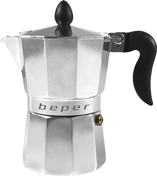 Beper Cafetera Tradicional CA.011, 3 Tazas, Alumino, 0 W, 3 Cubic_Centimeters, 0.6 Decibeles, acero inoxidable, Aluminio: Amazon.es: Hogar