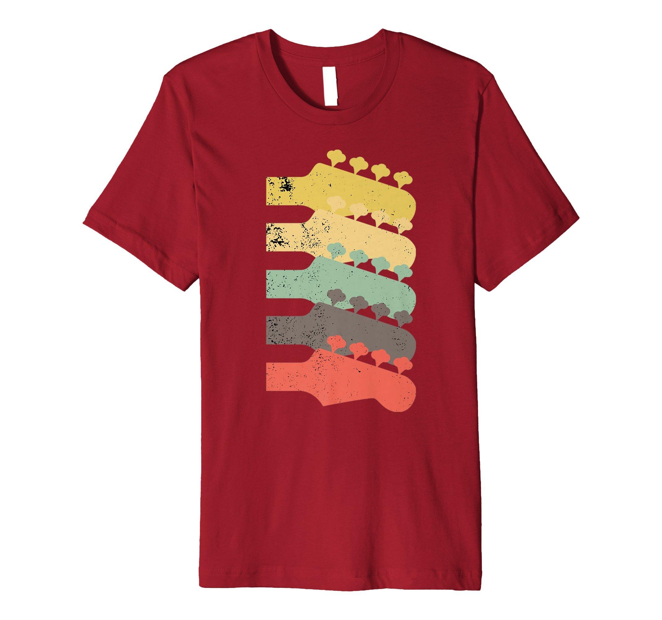 Mens Vintage Guitar Headstock Shirt Electric Guitar Gift for Men Medium Cranberry